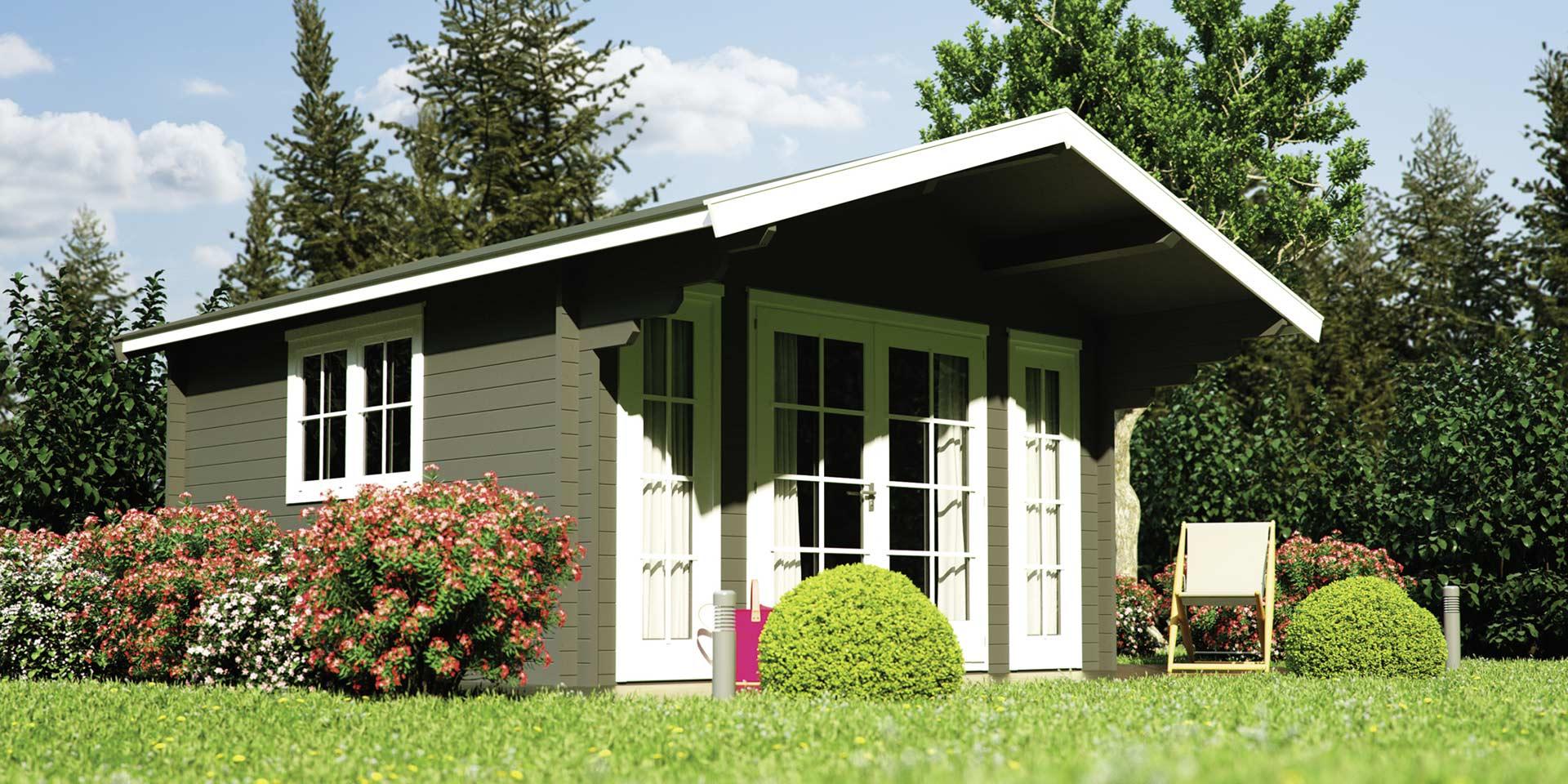 Gartenhaus BBH Lodge Blockbohlen-Bauweise