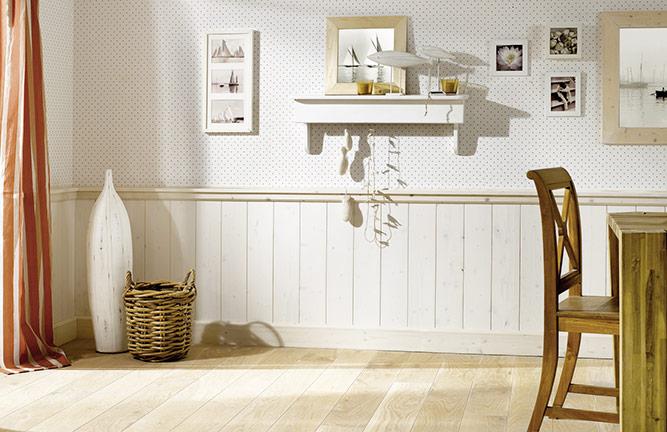 Wandverkleidung Fichte, Faseprofil, endbehandelt Wachsglanz Weiß transparent
