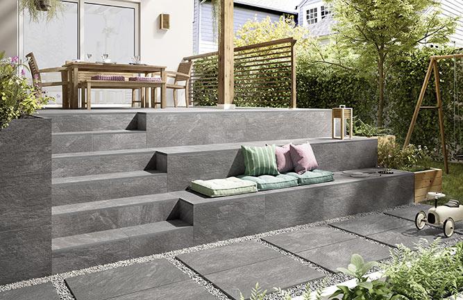 Keramische Terrassenplatten Steinoptik Anthrazit Multicolor