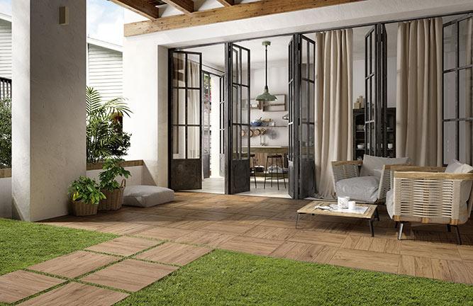 Keramische Terrassenplatten Holzoptik, braun