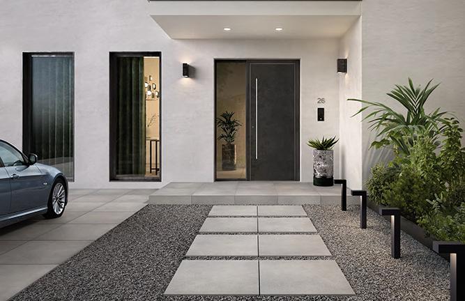 Keramische Terrassenplatten Zementoptik grau bei Holzland Köster