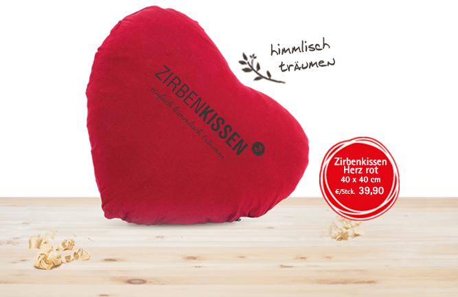 Zirbenholz Accessoires Zirbenkissen Herz rot