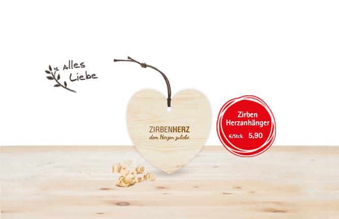 Zirbenholz Accessoires Zirben Herz Anhänger