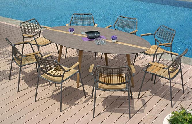 Garten-Sitzgruppe Flix, ovaler Tisch
