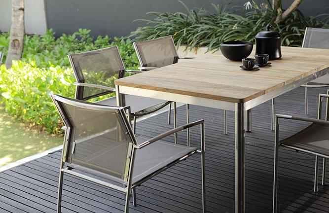 Sitzgruppe Gartentisch Naxos und Garten-Sessel Rovex