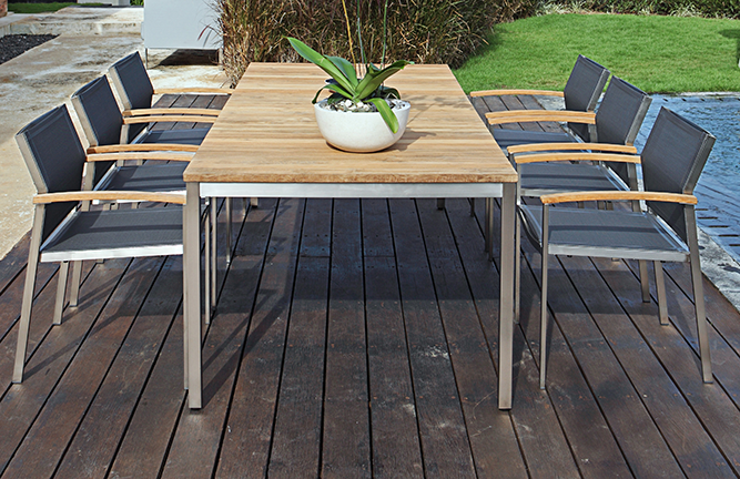 Garten-Sitzgruppe Tisch Naxos und Gartenstuhl Setax