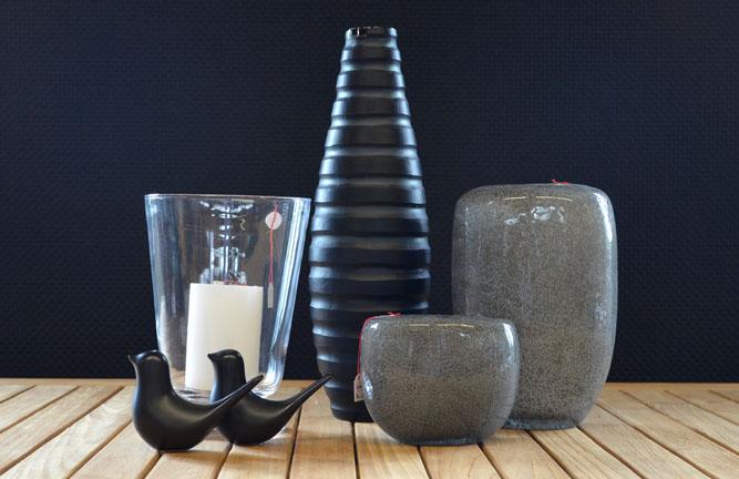 Wohnaccessoires, Glaswindlicht Martha, Glasvase Dex grau, Vase Rom