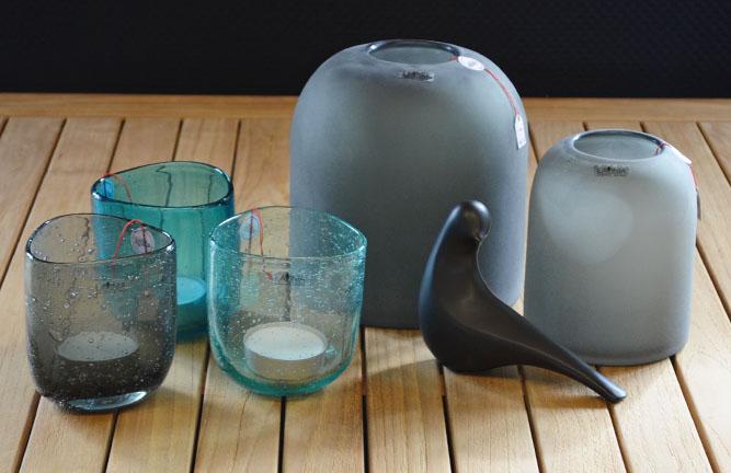 Wohnaccessoires, Glasvase Frost grau, Glasteelicht Pascal