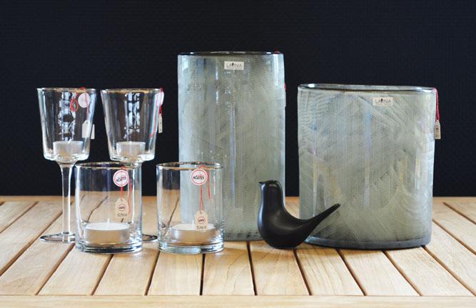 Wohnaccessoires, Windlicht, Vase Monaco, Glasteelichter