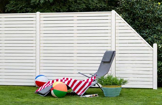 Sichtschutz-Zaun Douglasie arktikweiss lasiert