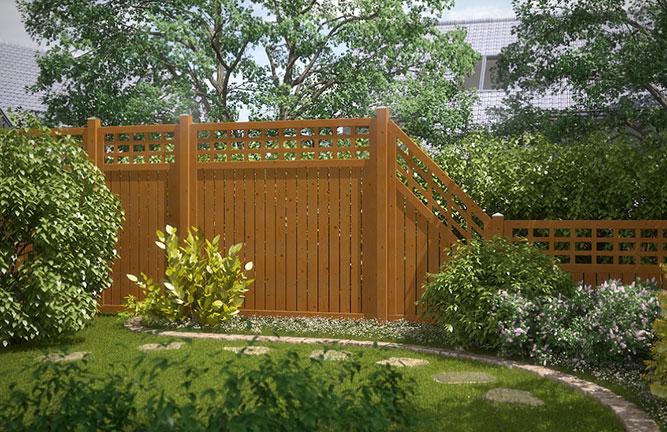 Sichtschutz-Elemente aus Nadelholz mit Rankgitter