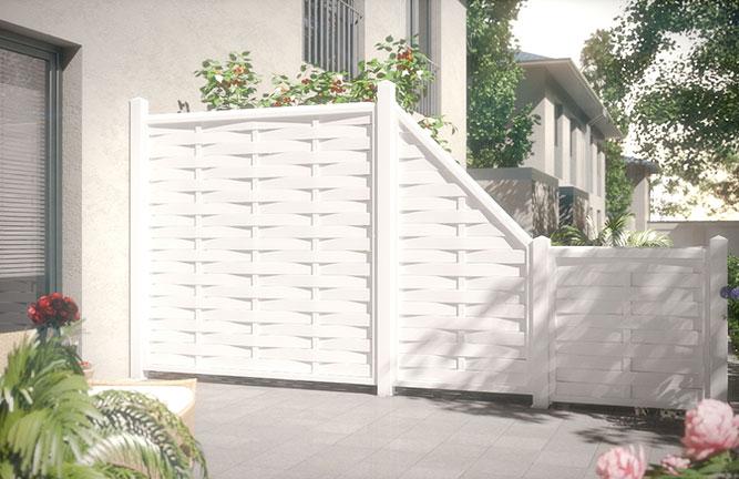 Sichtschutz-Zaun Romo Fensterkunststoff, weiß