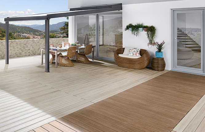 WPC-Terrasse, Bicolor, sand, mandel