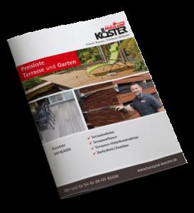 Preisliste für Terrassen, Unterkonstruktionen, Gartenholz und Zaunbau