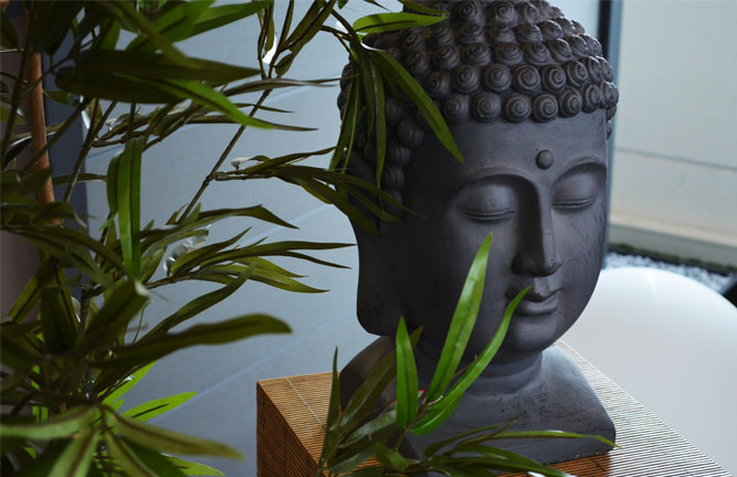 Buddha Kopf Bambus Deko