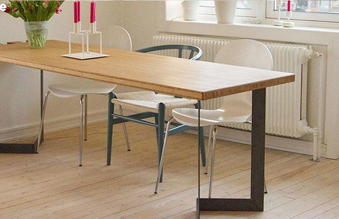 Tisch aus Bambus Massivplatte, Hochkantlamelle