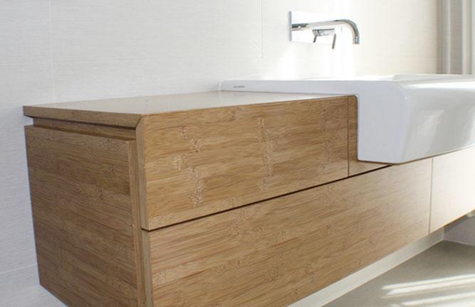 Waschtisch aus Bambus Möbelbauplatte, Breitlamelle