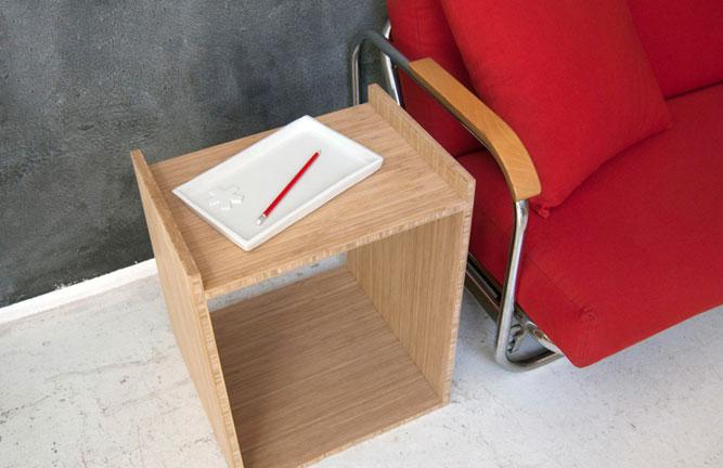 Hocker, Beistelltisch aus Bambus Möbelbauplatten Hochkantlamelle