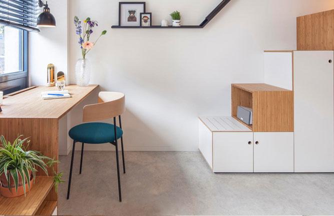 Regal, Schreibtisch aus Bambus Massivholz Hochkantlamelle
