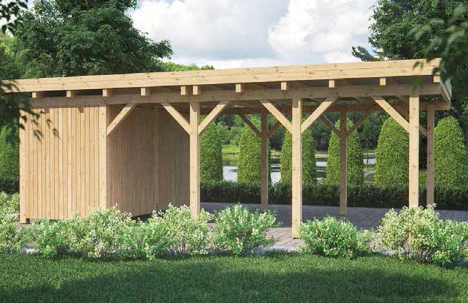 Carport Borkum MT Natur mit Geräteraum, Flachdach und Holzblende