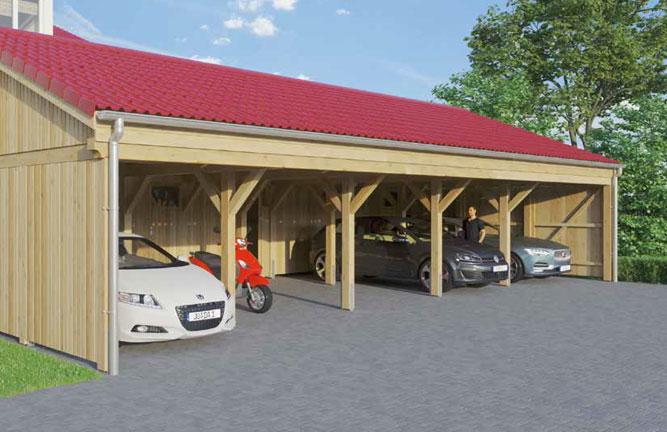 Carport-Reihenanlage mit Pfannendach