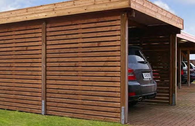 Holz-Carport Mellum mit Geräteraum