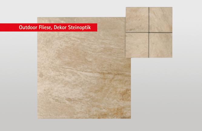 Keramikterrasse, Outdoor Fliese, Dekor Steinoptik, beige multicolor
