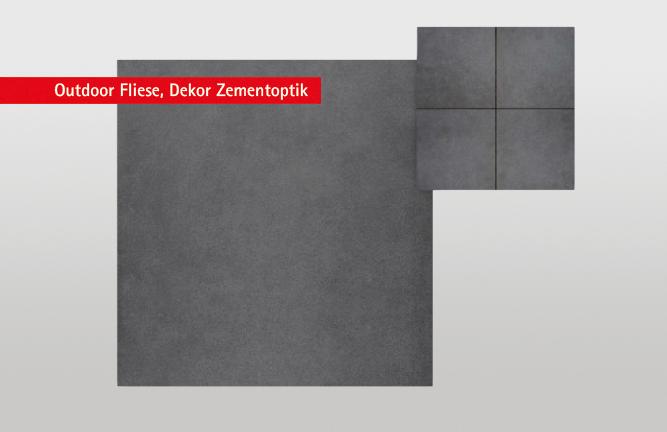 Keramikterrasse, Zementoptik, anthrazit, Outdoor Terrassenfliese