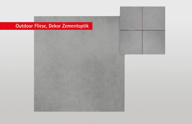 Keramische Terrassenfliese, Zementoptik, grau