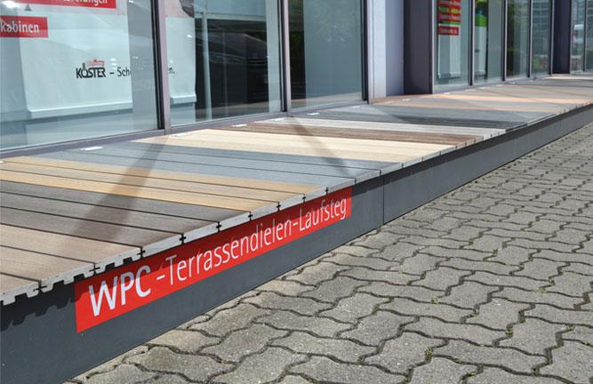 WPC-Terrassendielen-Laufsteg mt 37 WPC und BPC Dielen