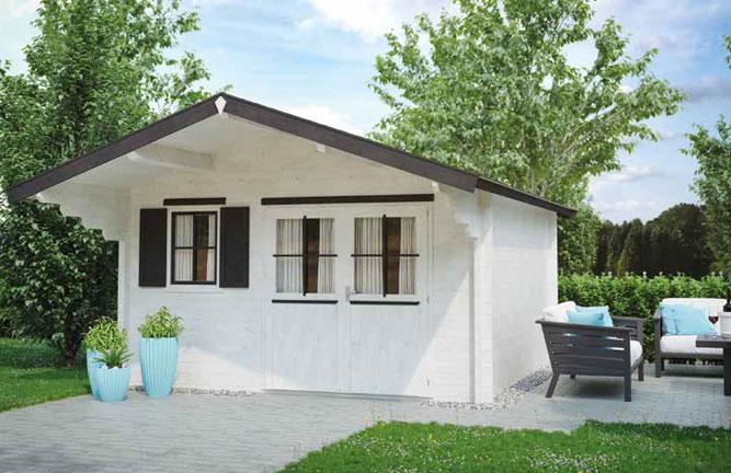 Gartenhaus Casa mit Vordach und Fensterläden