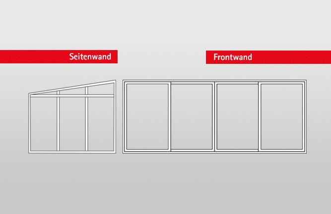 Ansichtsgrafik Seitenwand und Frontwand für Überdachungen und Kaltwintergärten