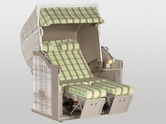 Strandkorb Classic, 2-Sitzer, Taupe grün