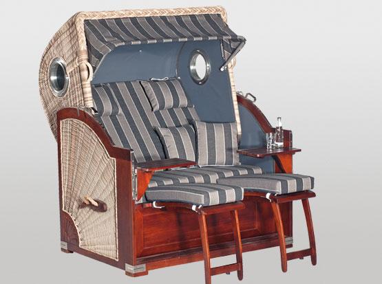 Strandkorb Comfort Plus, 2-Sitzer, grau beige