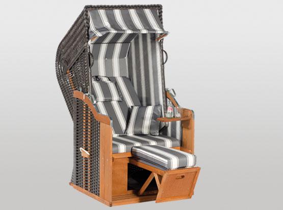 Strandkorb Modell Rustikal, 1-Sitzer, grau-weiß
