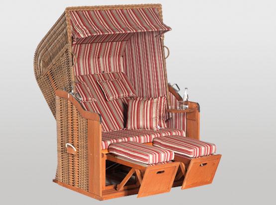 Strandkorb Rustikal, 2-Sitzer, marone rot