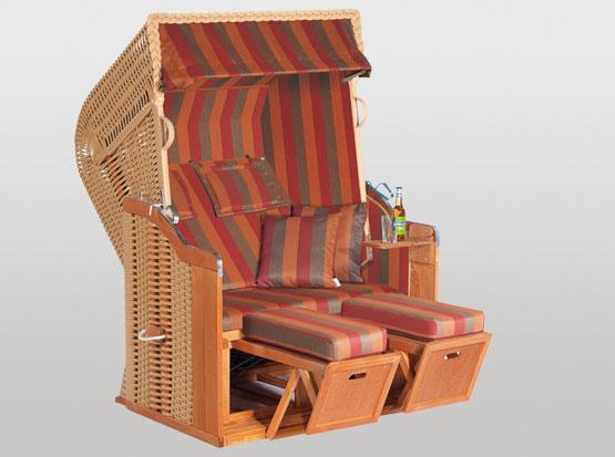 Strandkorb Rustikal Plus, 2-Sitzer, orange beige, mit Kissen