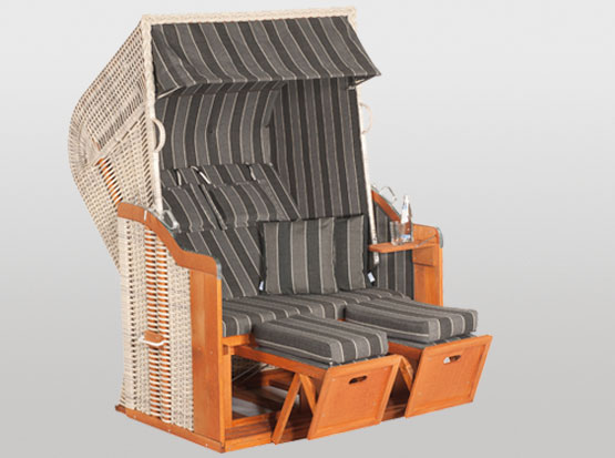 Strandkorb Rustikal, 2-Sitzer, grau, mit Kissen