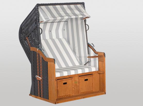 Strandkorb Rustikal Plus, 2-Sitzer, grau-weiß
