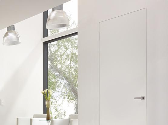 Zimmertür Modell Glatt, weiß, Echtlack, wandflächenbündigig