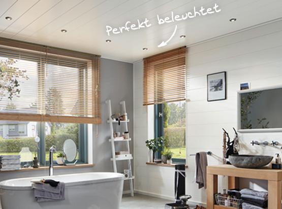 Deckenbeleuchtung in Dekorpaneelen im Badezimmer