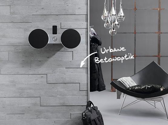Wand und Decke: Systempaneele SP300, Betonoptik