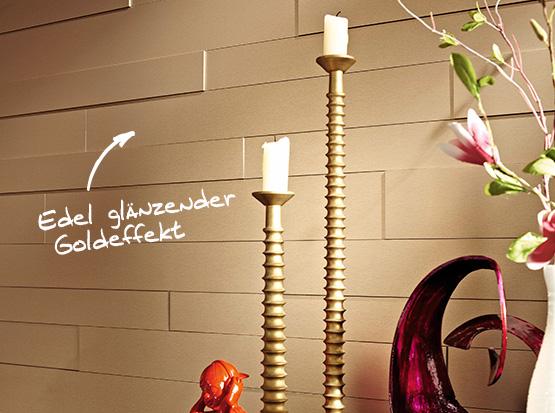 Wand und Decke: Systempaneele, Dekor Gold-Metallic