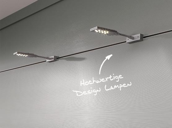 Wand und Decke: Paneele Nova, Dekor Aluminium mit flexiblen Leuchten