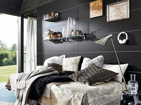 Wand und Decke: Systempaneele Nova, Tafel schwarz, Schlafzimmer