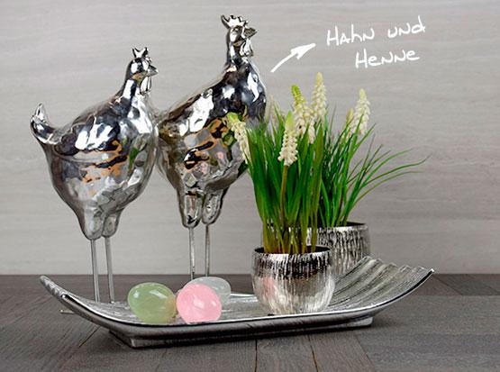 Frühlingsdeko: Hahn und Henne, Schale in silber