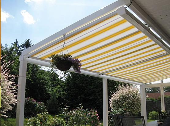 Unterdach Markise, gelb-weiss, für Alu-Überdachungen