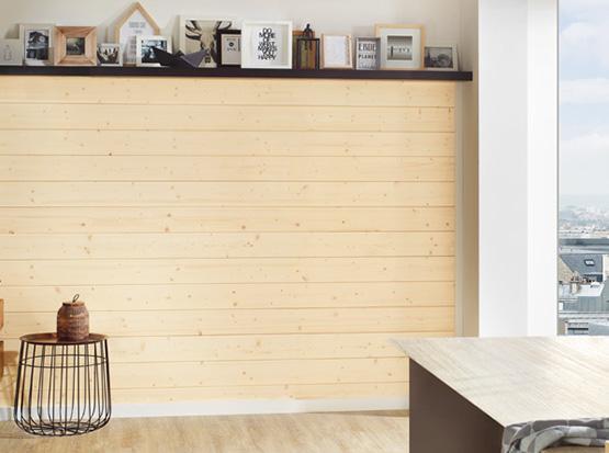 Wandgestaltung mit Profilholz Fichte Softline