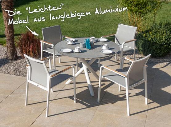 Gartenmöbel Sitzgruppe Bee, runder Tisch, komfortable Gartenstühle, weißes Alugestell