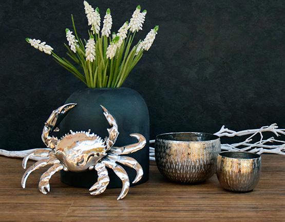 Schöne Tischdeko Taschenkrebs, Glasvase und Teelichter